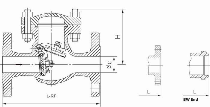 din3202-f1 swing check valve (pn64-pn100)